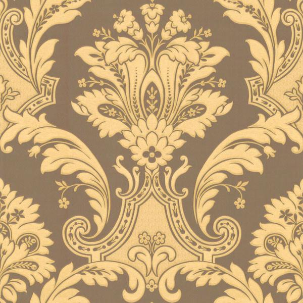 Metallic Gold and Chocolate Damask Wallpaper transitional-wallpaper - Metallic Gold And Chocolate Damask Wallpaper - Transitional