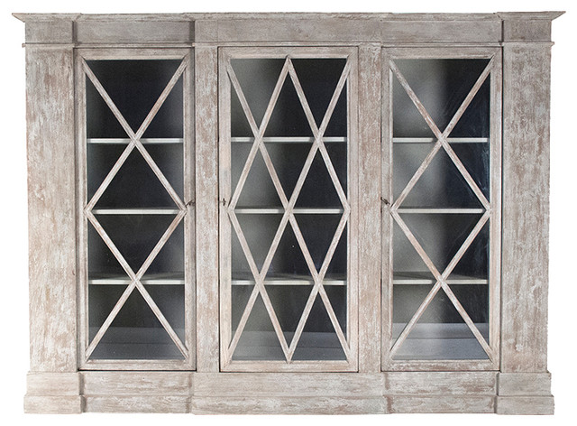 Colin French Country Rustic Distressed White Crisscross