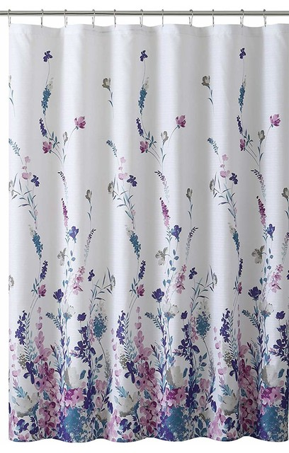 navy white fabric shower curtain elegant floral design white