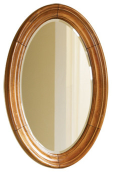 Guild Hall Vanity Mirror, Distressed Pecan Finish, Large.