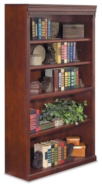 Kathy Ireland Home By Martin Huntington Club 5-Shelf Bookcase, Vibrant Cherry.