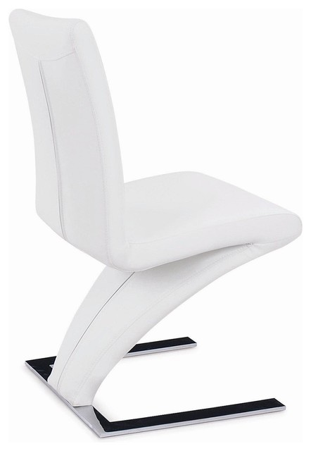 Modern Dining Chair With Chrome Base, White Contemporary Dining Chairs