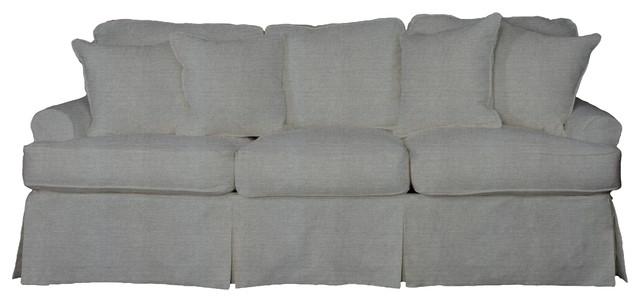 Horizon Slipcovered Sofa, Performance Gray.
