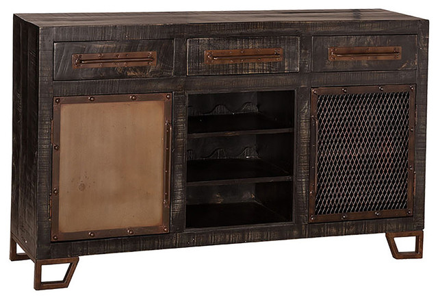 Sofa Table With Wine Rack, Black Finish - Console Tables - by Peazz