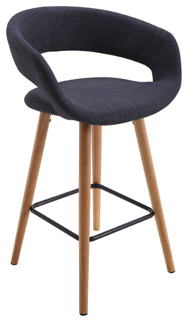 Strange Contemporary Dark Gray Fabric Seating With Wood Legs Ncnpc Chair Design For Home Ncnpcorg