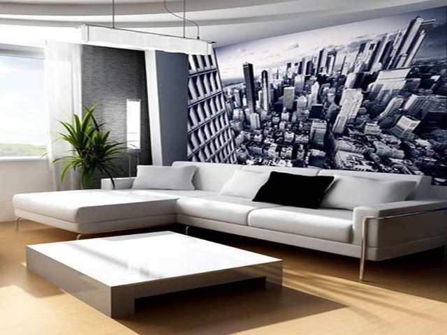Wall decor ideas for living room with mega city themes for Modern wallpaper designs for living room