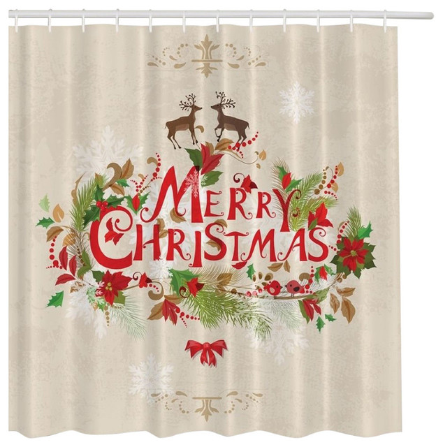 Morethancurtains Merry Christmas Holiday Holly Reindeer