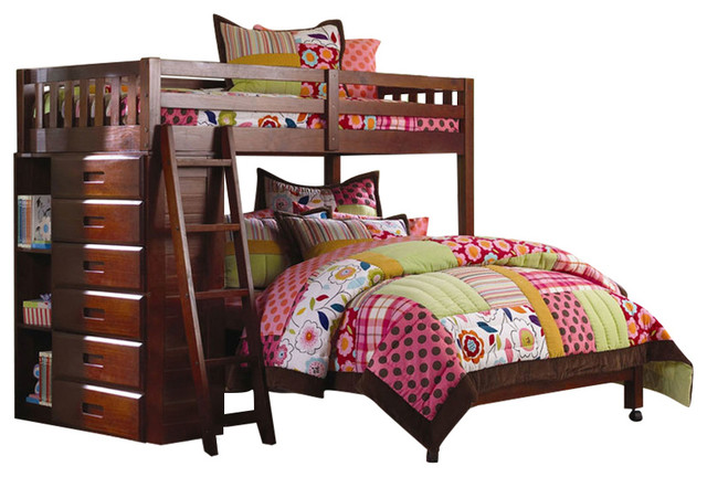 Chandler Twin-Over-Full L-Shaped Bunk Bed With Bookshelves And Storage.