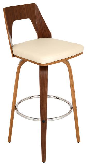 Trilogy Mid Century Modern Swivel Barstool In Walnut Wood With  Cream Pu Fabric.