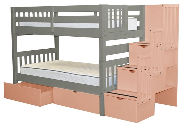 Bedz King Bunk Beds Twin Over Twin Stairway, 3 Pink Steps, 2 Bed Drawers, Gray.