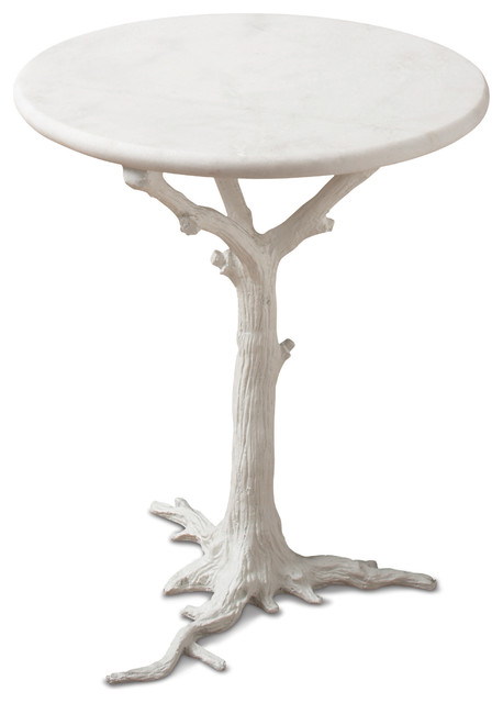 Bijou Global Bazaar White Tree Branch Iron Marble Round Accent End Table