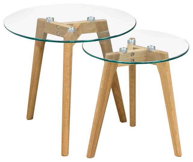 Monarch round 2 pc nesting tables oak legs and clear for Glass top nesting tables