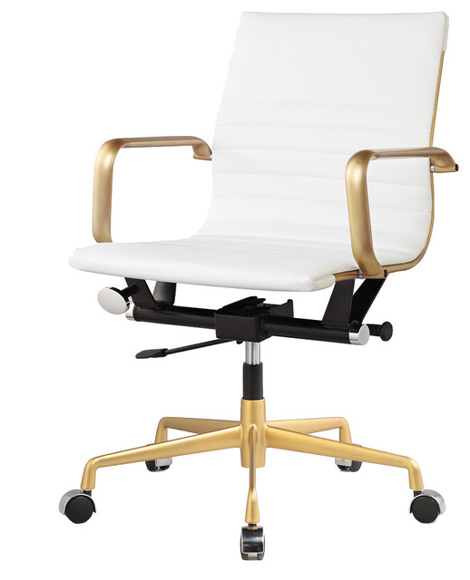 rachel george vegan office chair, white and gold - contemporary