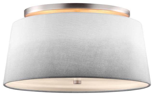 Tori 3-Light Semi Flush, Satin Nickel.