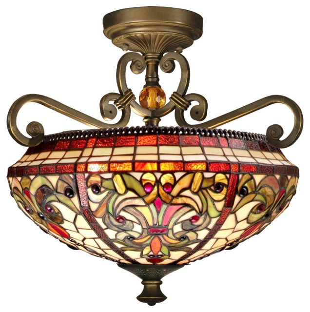 2 Light Standard Bulb Semi Flush Mount, Antique Golden Sand.