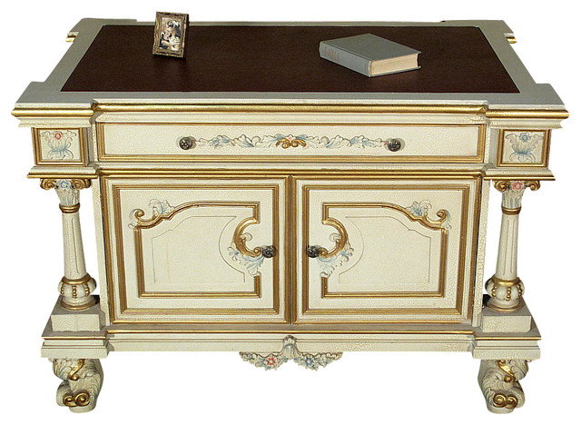 Attractive Antiqued White Painted Office Desk Writing Table Traditional Desks  And Hutches