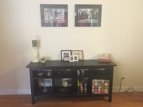 any ideas are welcome the colors in our apartment are mostly black red and gold but would love to experiment with some color - Entry Table Decor