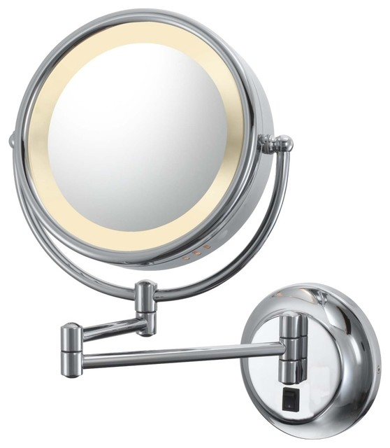 Vanity Light Makeup Mirror : Aptations Chrome Hardwired Swing Arm Lighted Vanity Mirror - Contemporary - Makeup Mirrors - by ...
