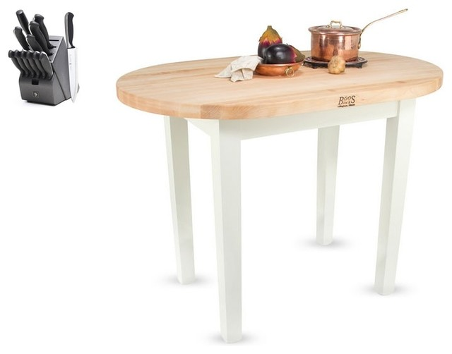 John Boos Elliptical 72x30 Table and 13 Piece Henckels Knife Set