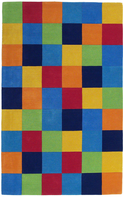 "Kidding Around 0416 Boys Color Blocks Rug, 3&x27;3""x5&x27;3""."
