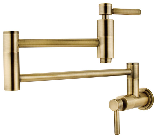 Concord Wall-Mounted Pot Filler, Vintage-Style Brass.