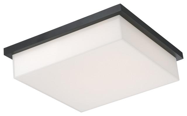 Ledge Led Flush Mount Outdoor Ceiling Lighting, Black, 14x14.