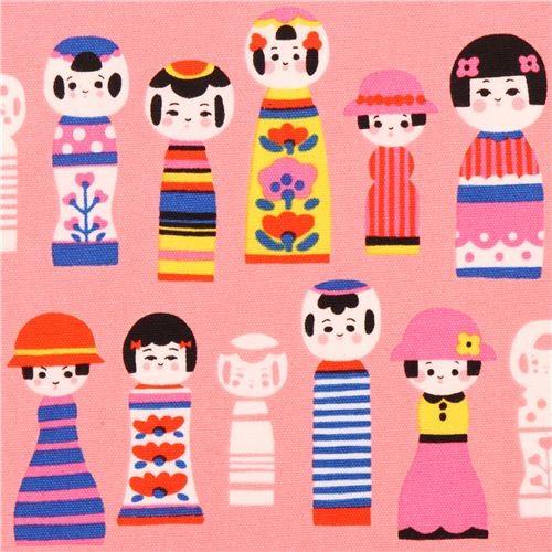 kawaii pink Kokeshi doll oxford fabric Kokka from Japan