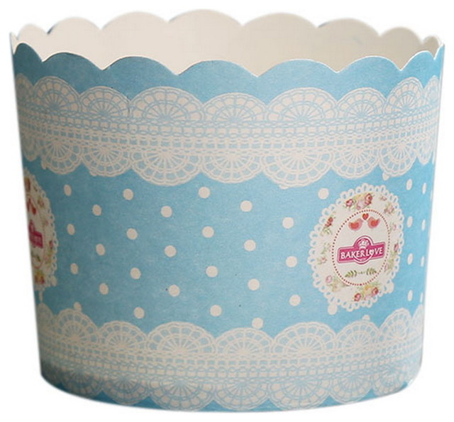 50 Medium Lovely Creative Cake Cups, Light Blue And White Garlands