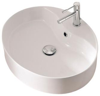 Bathroom Sinks Oval oval-shaped white ceramic vessel sink - contemporary - bathroom