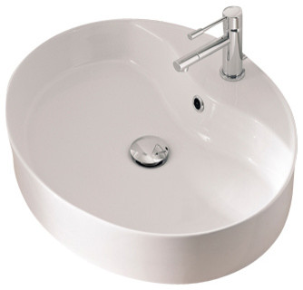 Oval Shaped White Ceramic Vessel Sink, One Hole