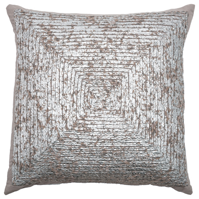 Rizzy Home Decorative Pillow, Silver.