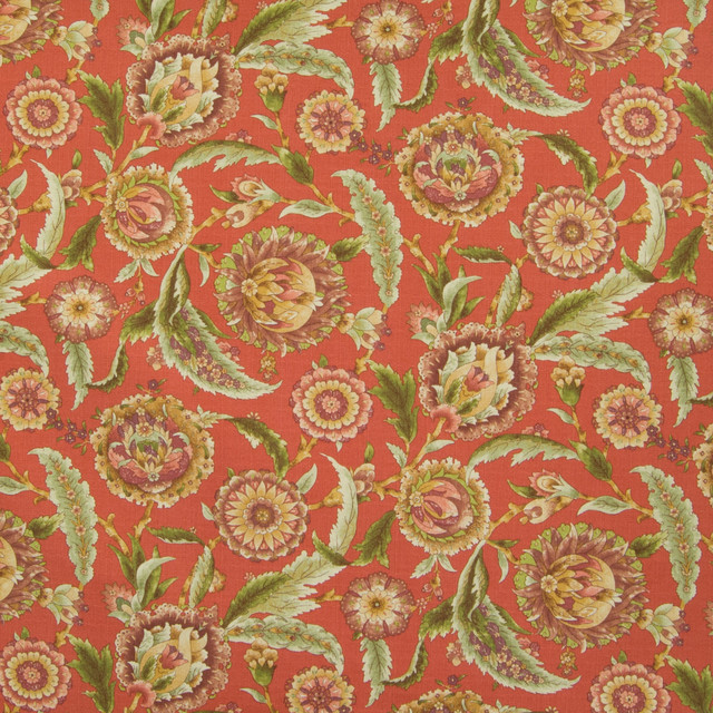 Clay Red Floral Print Cotton Upholstery Fabric By The Yard
