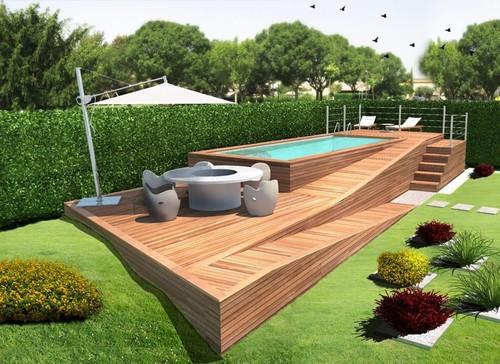 In legno per piscine fuori terra good scaletta chambord for Interrare piscina intex