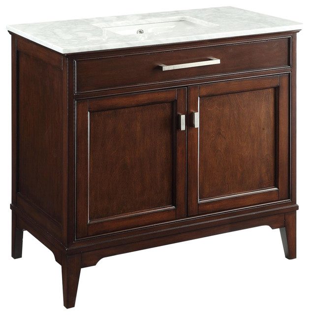"""36"""" Modern-Style Theron Bathroom Sink Vanity With Carrara Marble Top, Soft Close."""