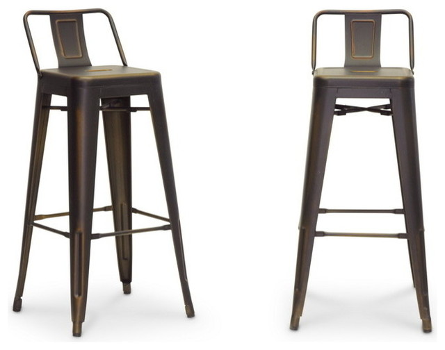Baxton studio french industrial modern bar stool in for Industrial design bar stools