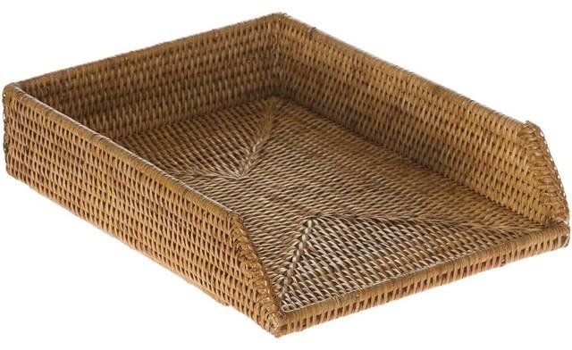 shop houzz kouboo la jolla handwoven rattan stackable letter tray honey brown desk accessories