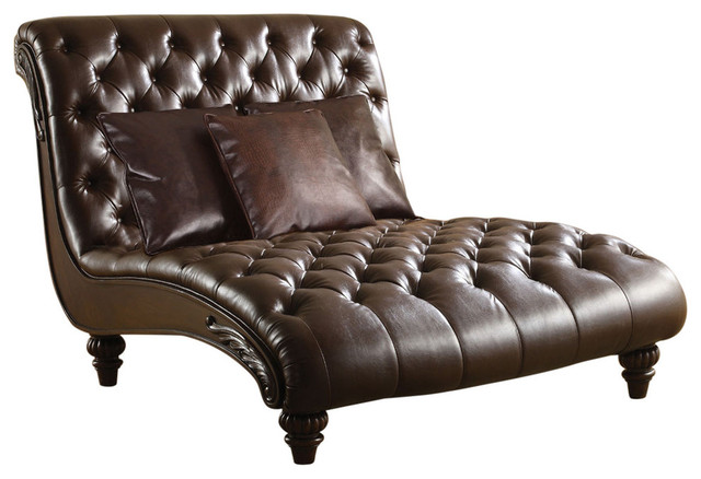 Acme Anondale Chaise With 3pillows, Brown