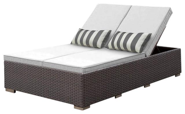 Solis Benitto Double Chaise Lounger Sun Chair, White Cushions.