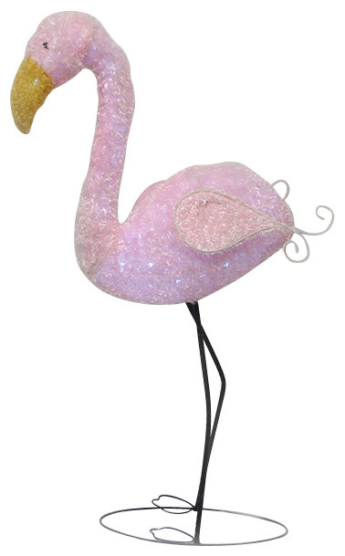 Pre Lit LED Outdoor Chenille Flamingo Summer Patio Yard Art Decoration,  Pink Contemporary
