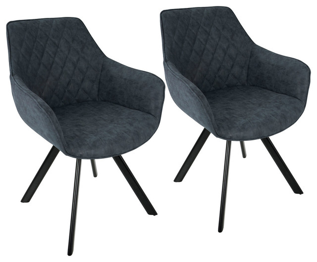 LumiSource Outlaw Dining Chair, Blue PU, Set of 2