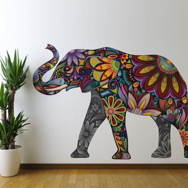 Elegant Elephant Wall Sticker, Large And Left Facing.