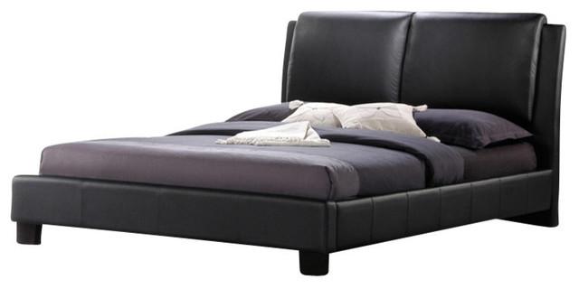 Baxton Studio Sabrina Black Modern Bed With Overstuffed Headboard, Full.