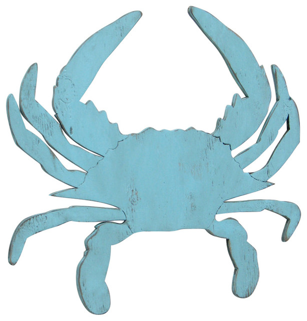 Large 33 Wood Crab Wall Decor Beach Style Wall Accents Other By Haven America