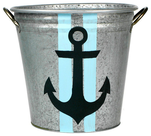 Double Stripe Anchor Galvanized Storage Bucket, X-Large.