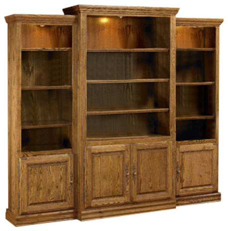Heirloom Oak 3 Piece Wall Unit Media Center With Doors Traditional Bookcases By Bebe