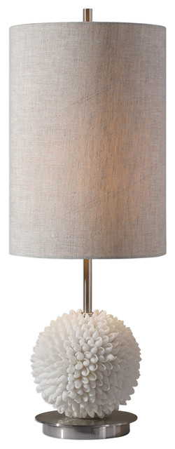 Luxe White Sea Shell Sphere Table Lamp, Silver Tall Beige Shade Coastal Ball.