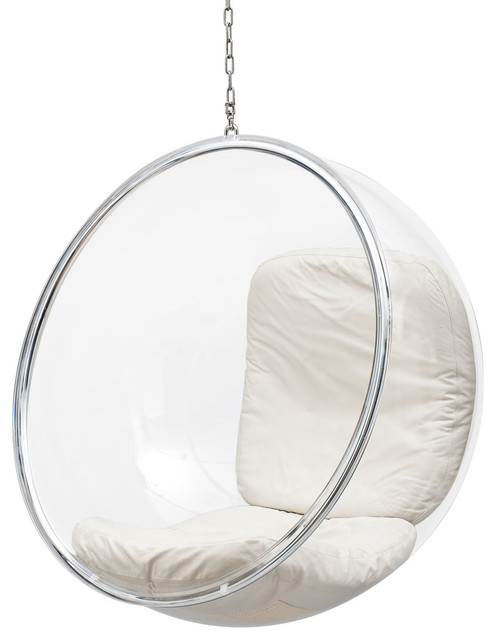 Adelta Hanging Bubble Chair, Ivory Leather Cushion by EeroAarnio