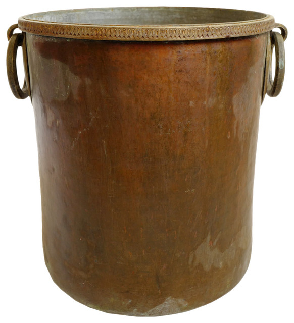 Consigned Antique Copper Brass Hammered Pot Traditional Indoor Pots And Planters By Design Mix Furniture
