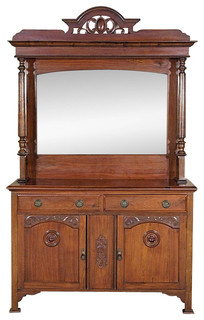 Consigned Antique English Walnut Mirrorback Buffet Sideboard Server