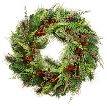 Silk Plants Direct Twig, Cone And Pine Wreath, Set Of 1.